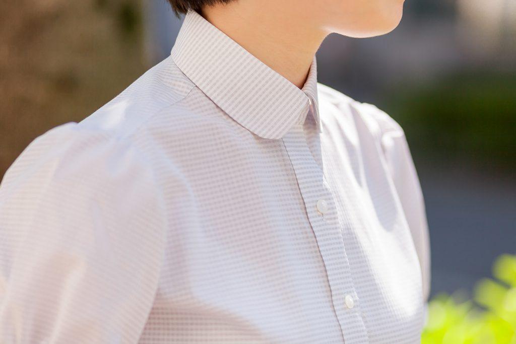 ラウンドカラー 半袖レディースシャツ